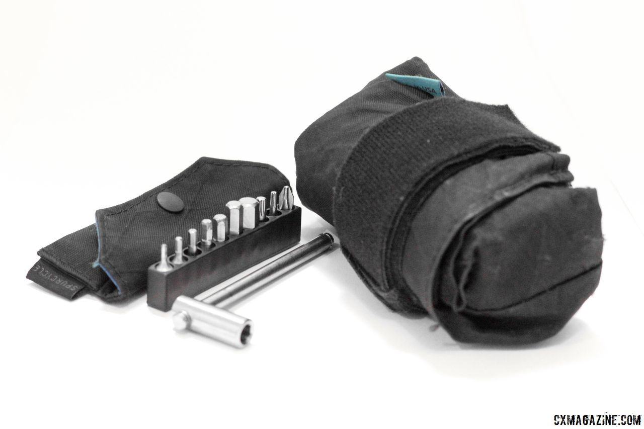 The Spurcycle Saddle Bag and Tool multi-tool are two products from the CA company that can help out on gravel roads. Spurcycle Saddle Bag and Multi-Tool. © Cyclocross Magazine