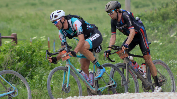 Geoff Kabush and Mat Stephens rode together after Kabush expressed his anti-aero-bar opinions in the week leading up to the race. 2018 Men's Dirty Kanza 200. © Z. Schuster / Cyclocross Magazine