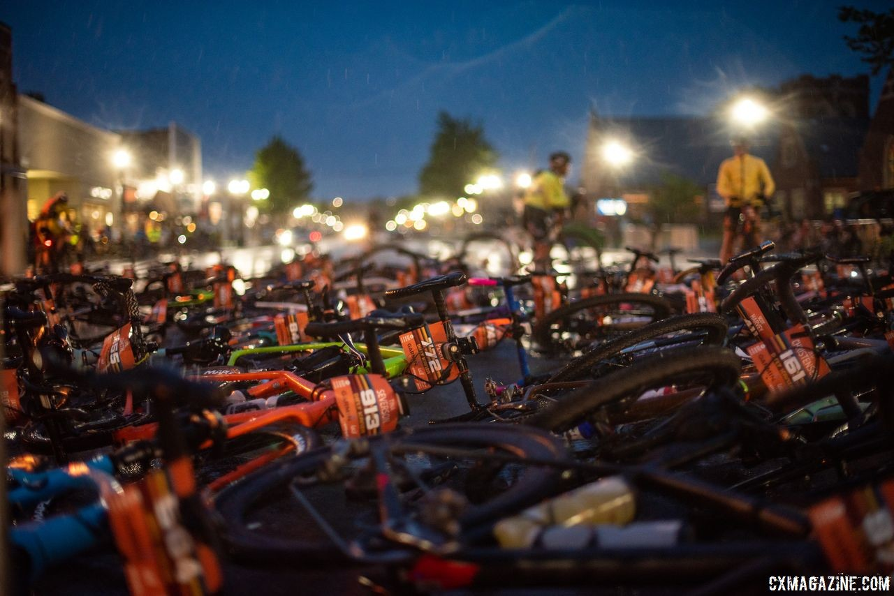 Rain that came after riders started to line up caused a bike rapture at the start line. 2018 Dirty Kanza 200. © Ian Matteson/ ENVE Composites