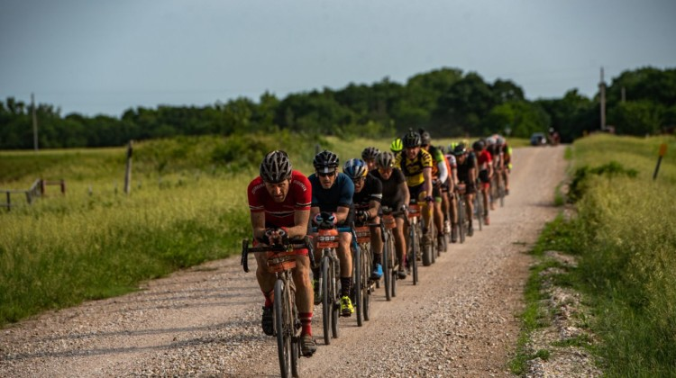 Aero bars were the talk of the pre-race hype. Here a group shows how to aero paceline. 2018 Dirty Kanza 200. © Ian Matteson/ ENVE Composites
