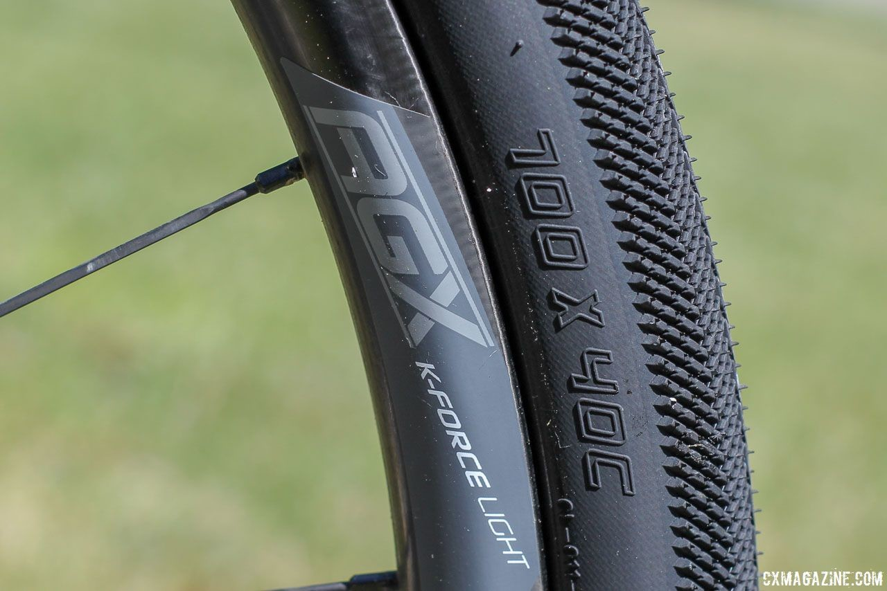 Driscoll's wheels were FSA's new K-Force Light AGX carbon tubeless clinchers. Jamey Driscoll's 2018 Dirty Kanza 200 Donnelly G//C Gravel Bike. © Z. Schuster / Cyclocross Magazine