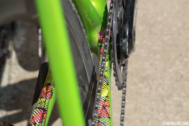 A look at Keough's chainstays shows the clearance for her 38mm tires. Kaitie Keough's 2018 Dirty Kanza 200 Cannondale SuperX. © Z. Schuster / Cyclocross Magazine