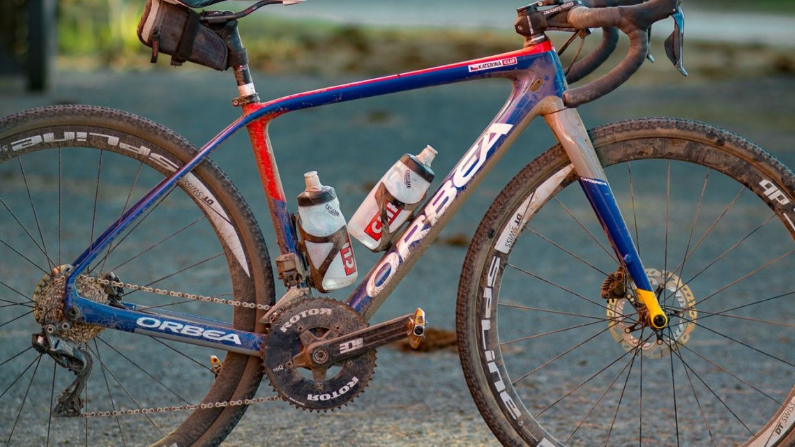 Katerina Nash's carbon Orbea Terra gravel bike. 2018 Lost and Found gravel race. © Cyclocross Magazine