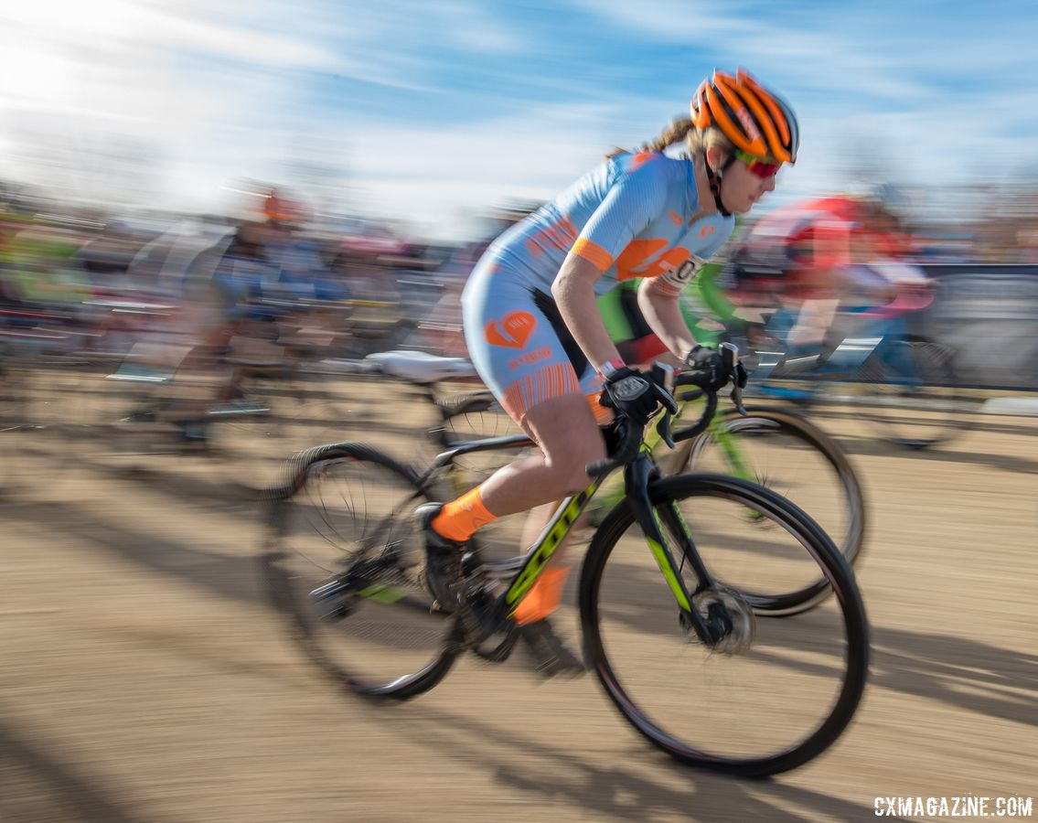 KK Santos raced for the Amy D. Foundation at the 2018 U23 National Championships in Reno. © A. Yee / Cyclocross Magazine