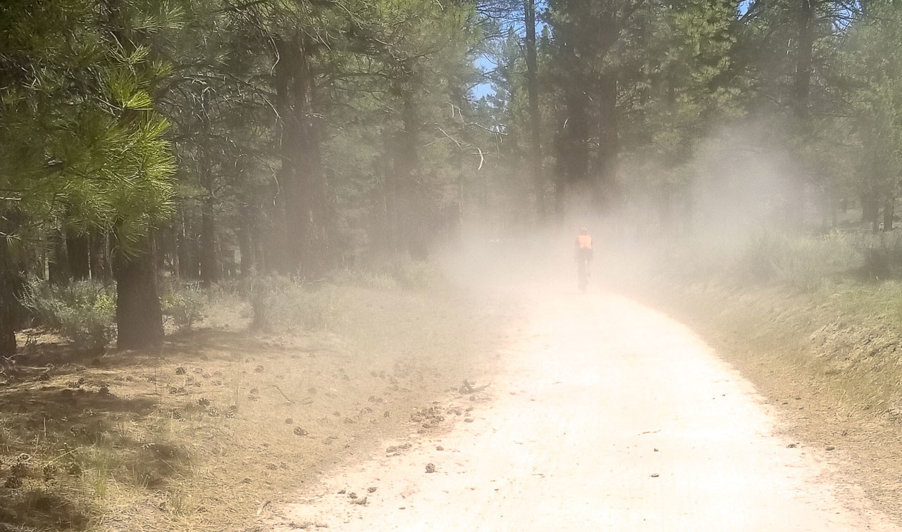 A medic SUV raced down the road at the 2018 Lost and Found gravel ride to assist with the fallen racer.
