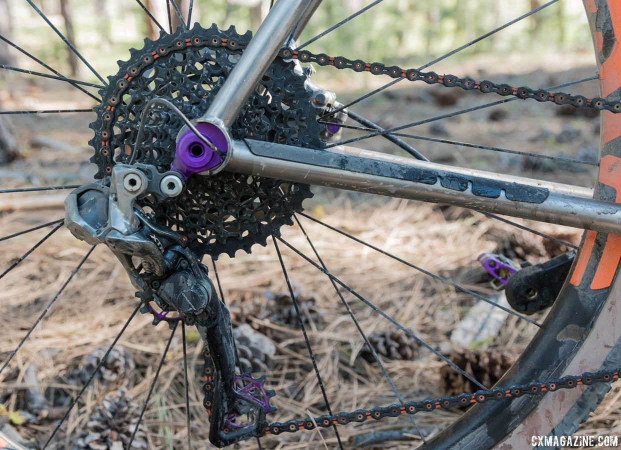 Jaron outfit the bike with a Shimano XTR R9050 Di2 rear derailleur with a long cage to fit the 10-42t cassette. Custom Titanium Cyclocross/Gravel Bike Handbuilt by Dan Nelson. 2018 Lost and Found Gravel Grinder. © C. Lee / Cyclocross Magazine