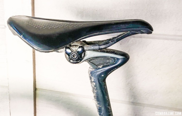 Dillon subbed the stock Command Post dropper for a CG-R leaf spring seatpost in an effort to increase seated comfort. Olivia Dillon's 2018 Lost and Found S-Works Diverge.