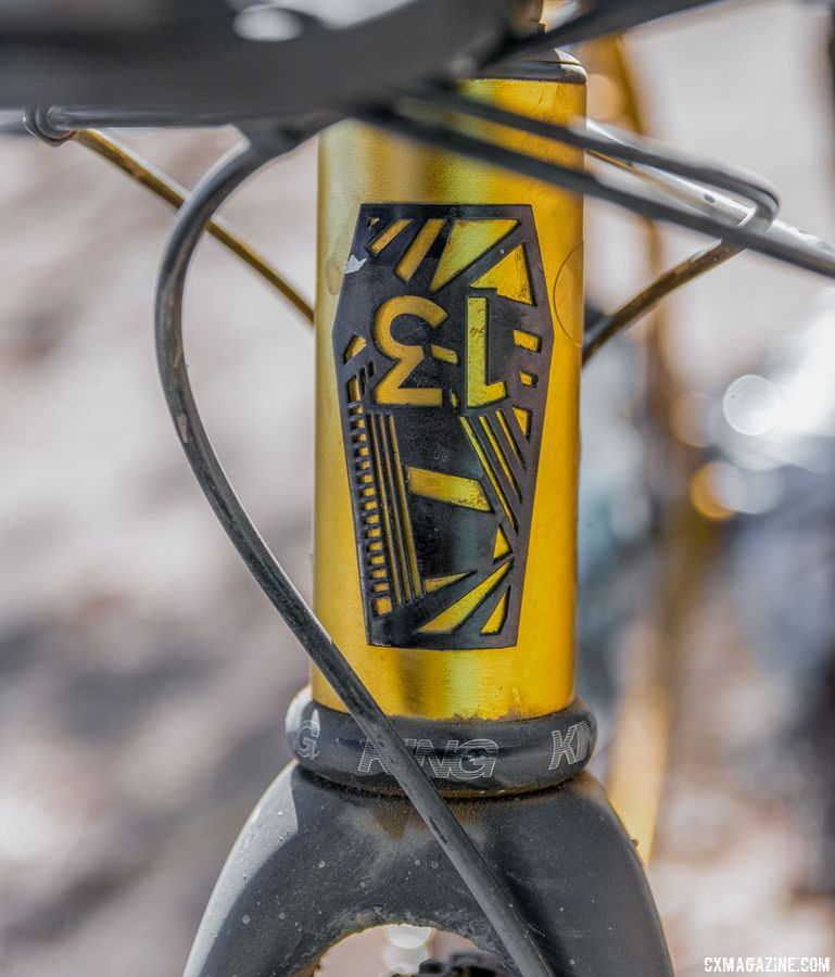 Glatt personalized his bike with a Lucky 13 head tube badge. Dylan Glatt's Spooky Gas Mask Gravel/Cyclocross Bike. 2018 Lost and Found Gravel Grinder. © C. Lee / Cyclocross Magazine