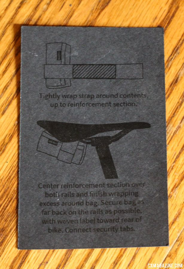 The instruction card that comes with the Saddle Bag has an elegant appearance, but is a bit tough to read. Spurcycle Saddle Bag and Multi-Tool. © Cyclocross Magazine