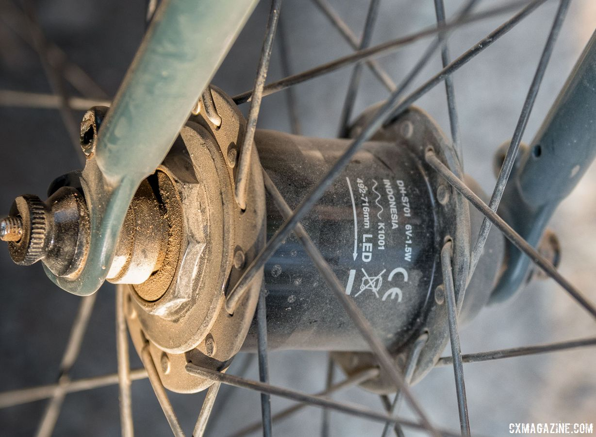Dynamo hubs are somewhat common on utility bikes, where their increased drag is a worthwhile trade-off for battery free lighting. This bike's owner had no lights equipped but continued to run a Shimano dynamo. Surly Cross Check Gravel Bike. 2018 Lost and Found Gravel Grinder. © C. Lee / Cyclocross Magazine