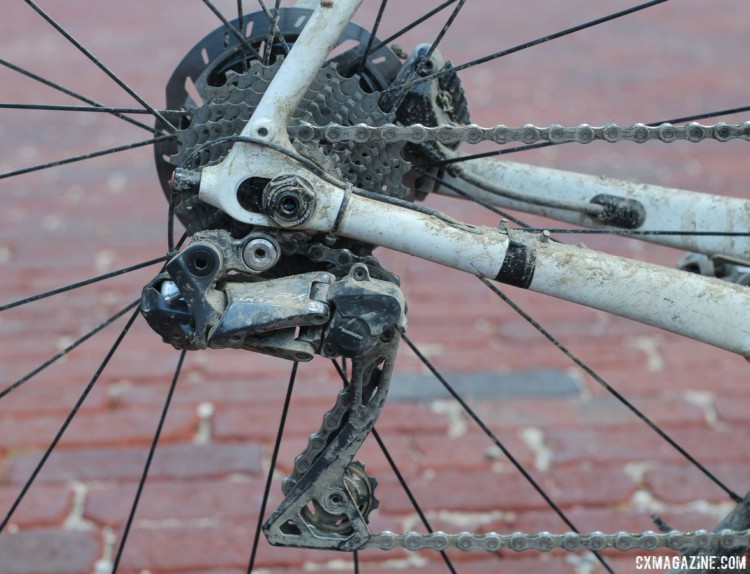 Nys ran the Ultegra RX805 Di2 clutch-based derailleur with an 11-28t cassette. The Checkpoint comes stock with an 11-34t. Sven Nys' 2018 Dirty Kanza 200 Trek Checkpoint. © Z. Schuster / Cyclocross Magazine