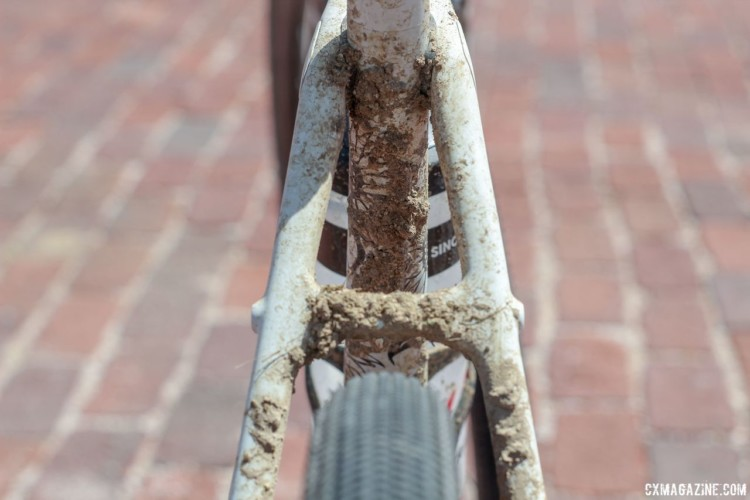 One difference between the Checkpoint and Boone is the addition of a seatstay bridge to the gravel bike. Sven Nys' 2018 Dirty Kanza 200 Trek Checkpoint. © Z. Schuster / Cyclocross Magazine