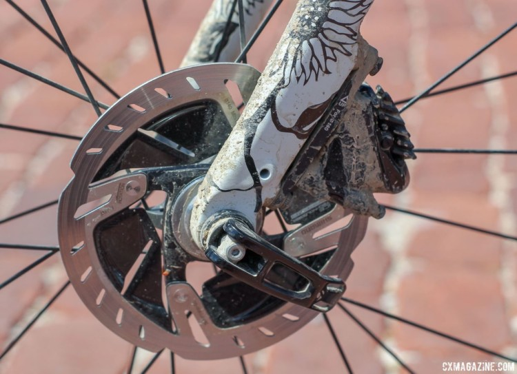 The Checkpoint has front and rear flat mount disc mounts and 12mm thru-axles. Sven Nys' 2018 Dirty Kanza 200 Trek Checkpoint. © Z. Schuster / Cyclocross Magazine