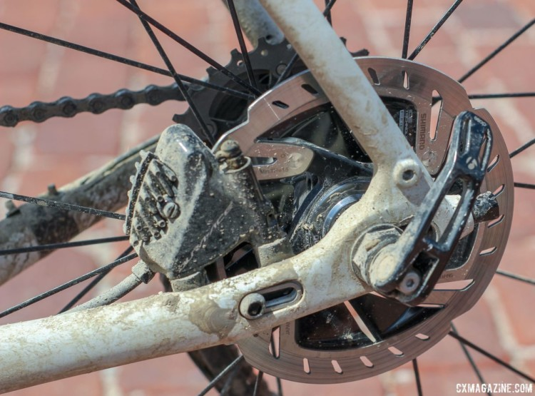 Nys ran Dura-Ace hydraulic calipers with IceTech Freeza 140mm rotors. Sven Nys' 2018 Dirty Kanza 200 Trek Checkpoint. © Z. Schuster / Cyclocross Magazine