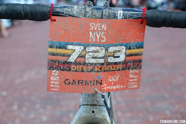 Although he registered as Stanley Nice, Nys raced under his real name on Saturday. Sven Nys' 2018 Dirty Kanza 200 Trek Checkpoint. © Z. Schuster / Cyclocross Magazine