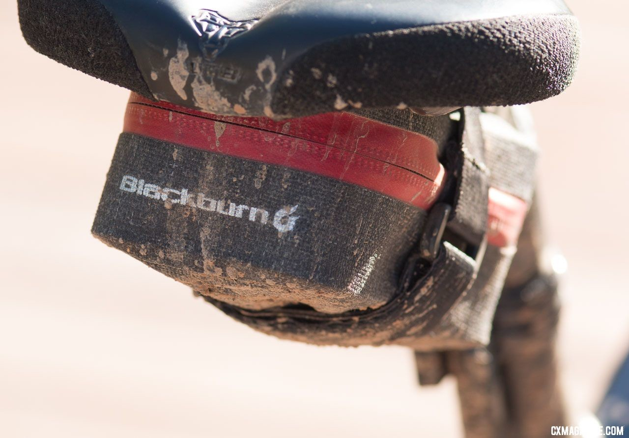 A Blackburn saddle bag carried the survival gear, but he didn't need it despite an early crash. Tobin Ortenblad's 2018 Lost and Found Santa Cruz Sitgmata. © Cyclocross Magazine