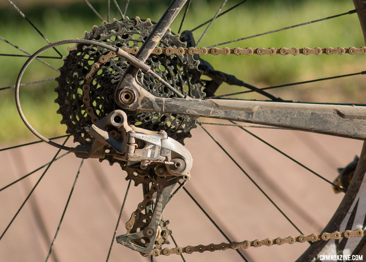 "Tobin Ortenblad's 2018 Lost and Found Santa Cruz Stigmata featured a 10-42 SRAM XD cassette. ""I could have run tighter but SRAM offers the 10-42, the best of both worlds"" Ortenblad said. © Cyclocross Magazine"