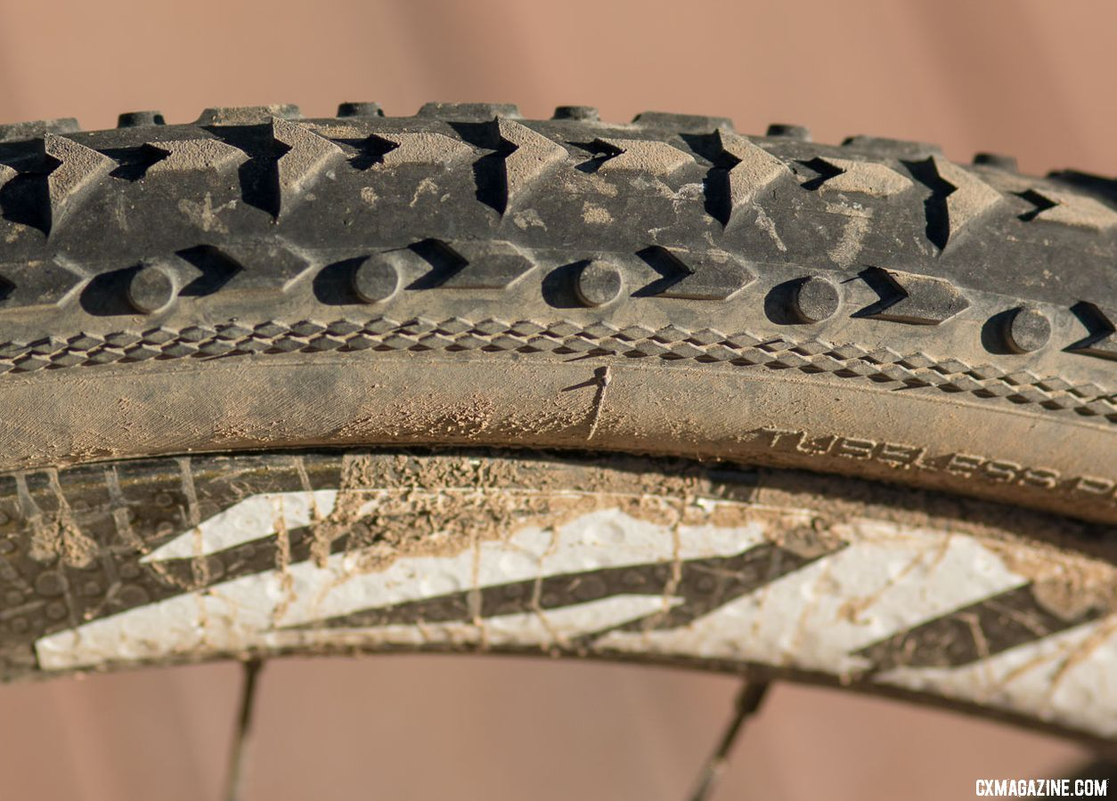 Despite suspect advice to run narrow file treads, Tobin Ortenblad opted for the bigger, knobbed Vittoria Terreno Mix 40mm tubeless tires and avoided flats on his way to the win. 2018 Lost and Found Santa Cruz Stigmata. © Cyclocross Magazine