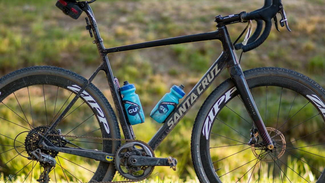 What gravel bike? Tobin Ortenblad's Santa Cruz Sitgmata cyclocross bike took on UCI racing in Europe and then conquered the Lost Sierra, with only a change in wheelset (including tires and gearing) plus two bottle cages. © Cyclocross Magazine