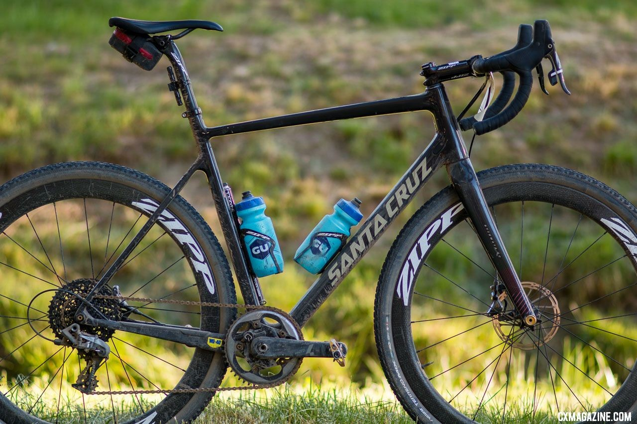What gravel bike? Tobin Ortenblad's Santa Cruz Stigmata cyclocross bike took on UCI racing in Europe and then conquered the Lost Sierra, with only a change in wheelset (including tires and gearing) plus two bottle cages. © Cyclocross Magazine