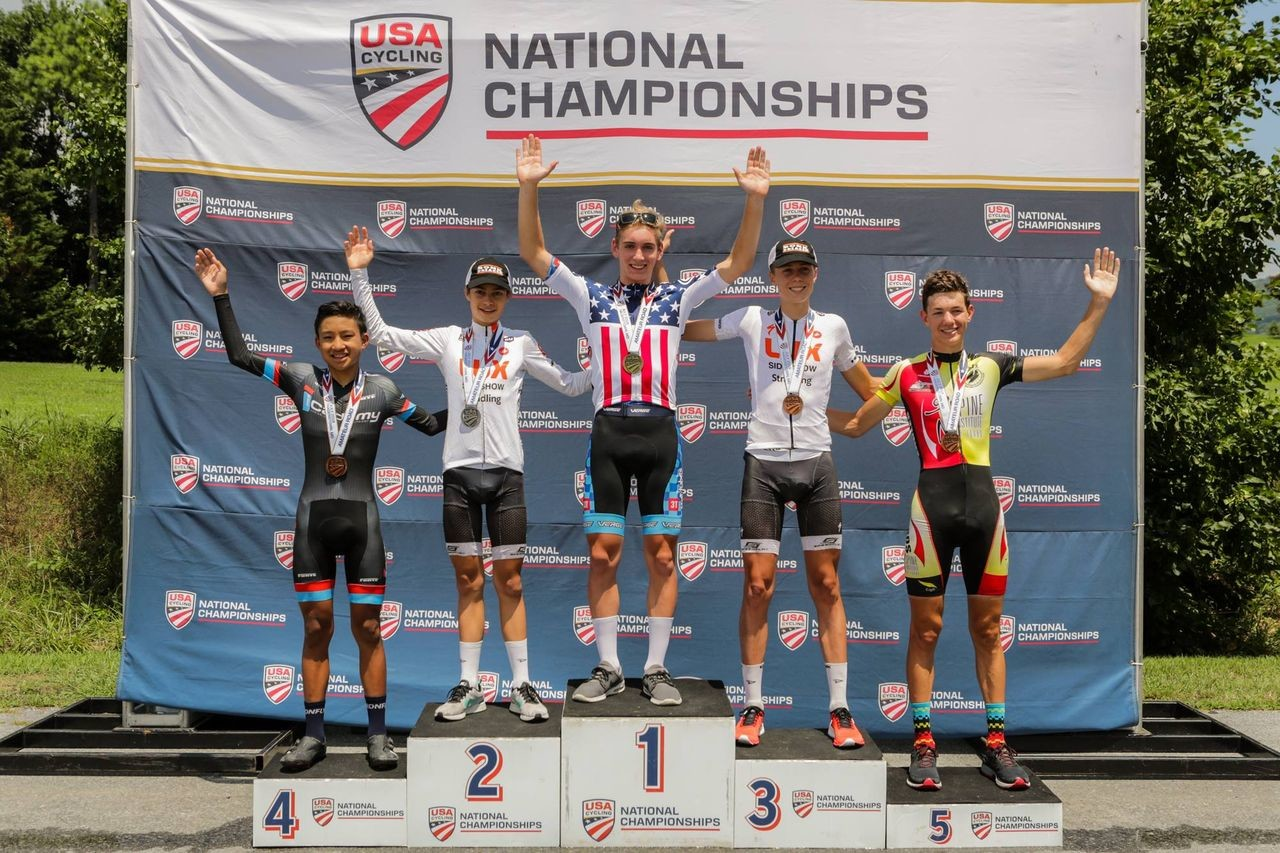 Magnus Sheffield won the Junior 15-16 time trial. 2018 U23/Junior Road Nationals. photo: USAC / Bruce Buckley