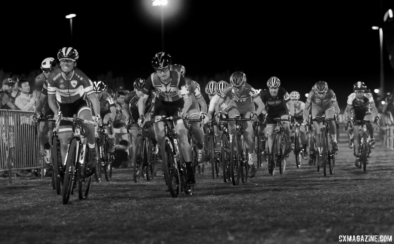 Ellen Noble and Caroline Mani lead out the Elite Women's holeshot. 2017 CrossVegas. © A. Yee / Cyclocross Magazine