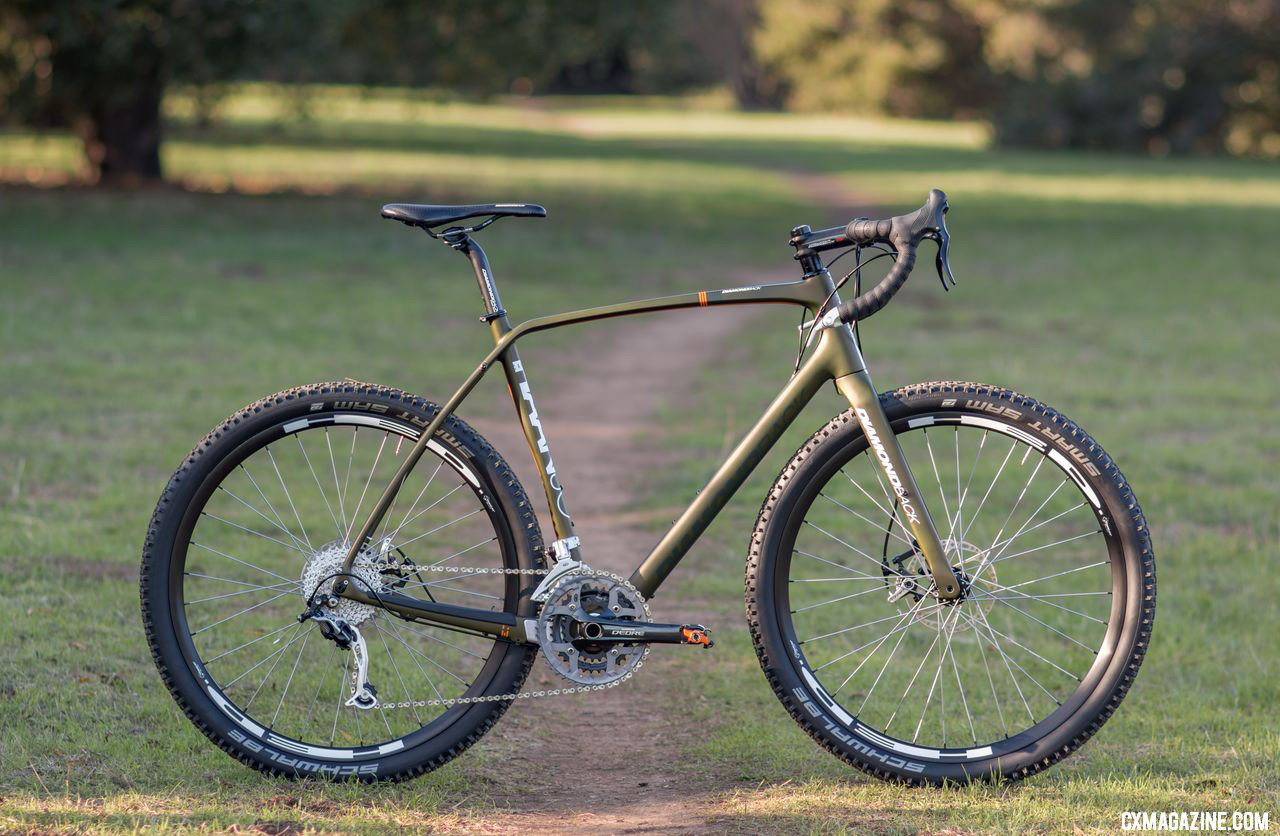 The Haanjo is a capable bikepacking and multi-surface bike, and perhaps the ultimate wide-tire, drop bar machine. Diamond Back carbon Haanjo EXP, with 650b wheels. © Cyclocross Magazine