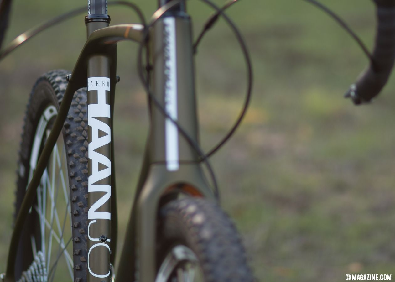 The Haanjo EXP pairs a modern carbon frame with some retro components to create a unique bike. External shifter cables are a sight to see in a day when most housing is hidden under bar tape. Diamond Back carbon Haanjo EXP, with 650b wheels. © Cyclocross Magazine