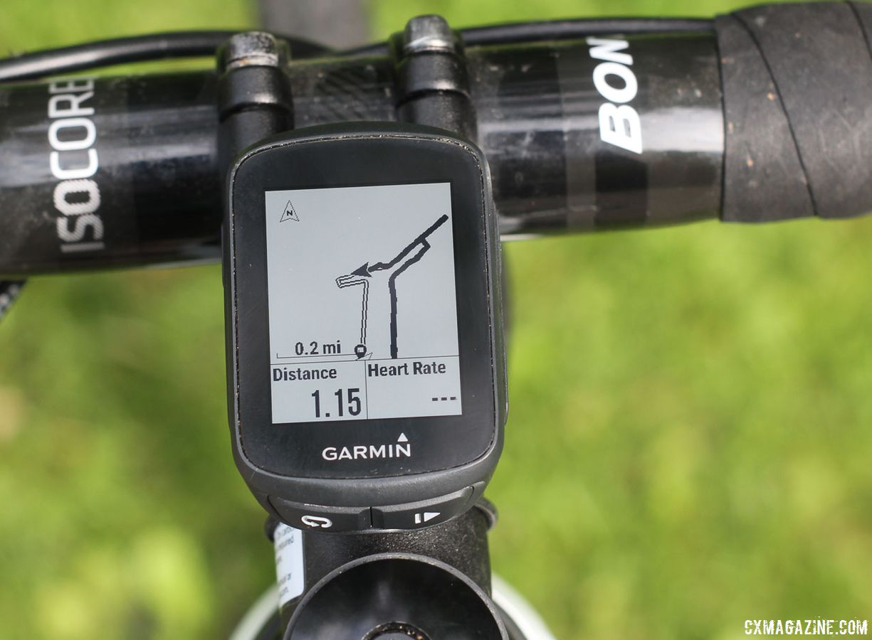The turn-by-turn directions show a track of your uploaded route. Garmin Edge 130 © Cyclocross Magazine