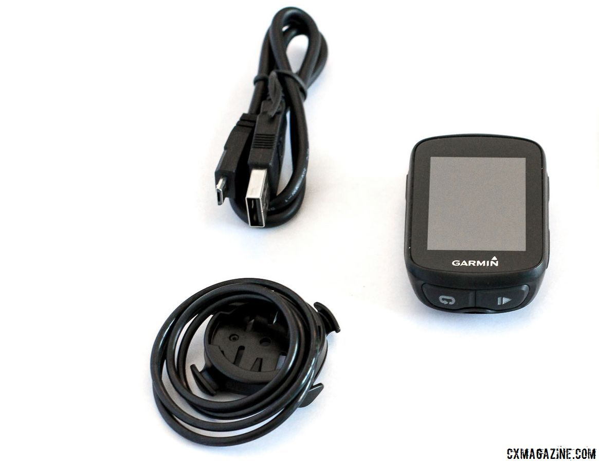 The Edge 130 package includes a charging cable and several mounts. Garmin Edge 130 © Cyclocross Magazine