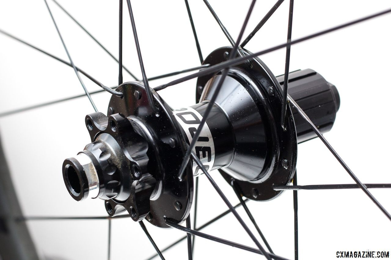 The Project 321 CX1 hub with patent-pending magnetic pawl engagement and a Shimano/SRAM compatible cassette body. Knight Composites 35 Clincher TLA Disc. © Cyclocross Magazine