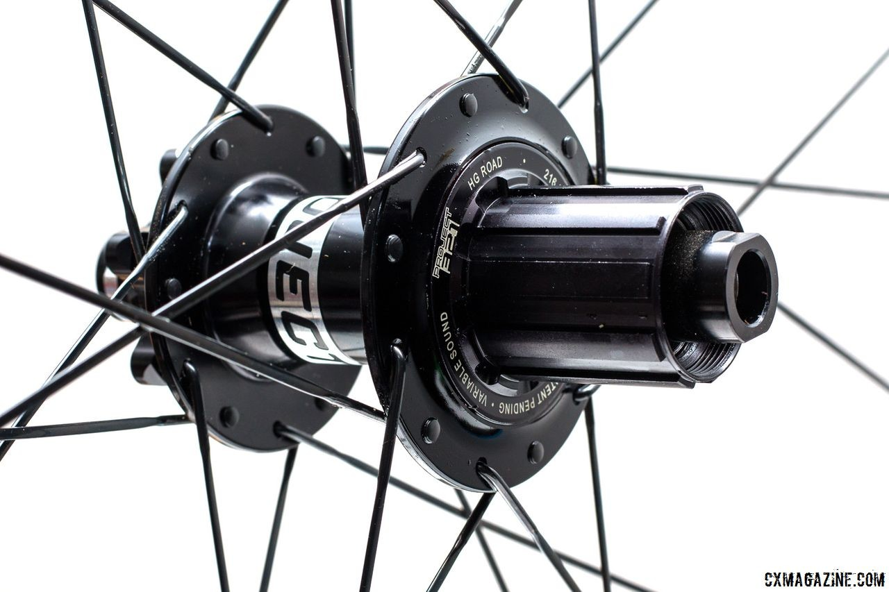 The Project 321 Hub has a listed weight of 281 grams. Our sample has 6 pawls with 2 pawl engagement giving 1.7 degrees of almost immediate engagement. Knight Composites 35 Clincher TLA Disc. © Cyclocross Magazine