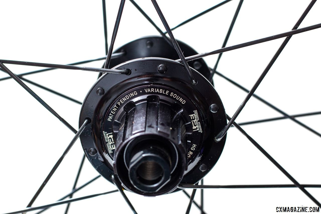 Our review wheelset came with the Project 321 CX1 hub, which has an adjustable engagement sound. We set ours to the more quiet one. Knight Composites 35 Clincher TLA Disc. © Cyclocross Magazine