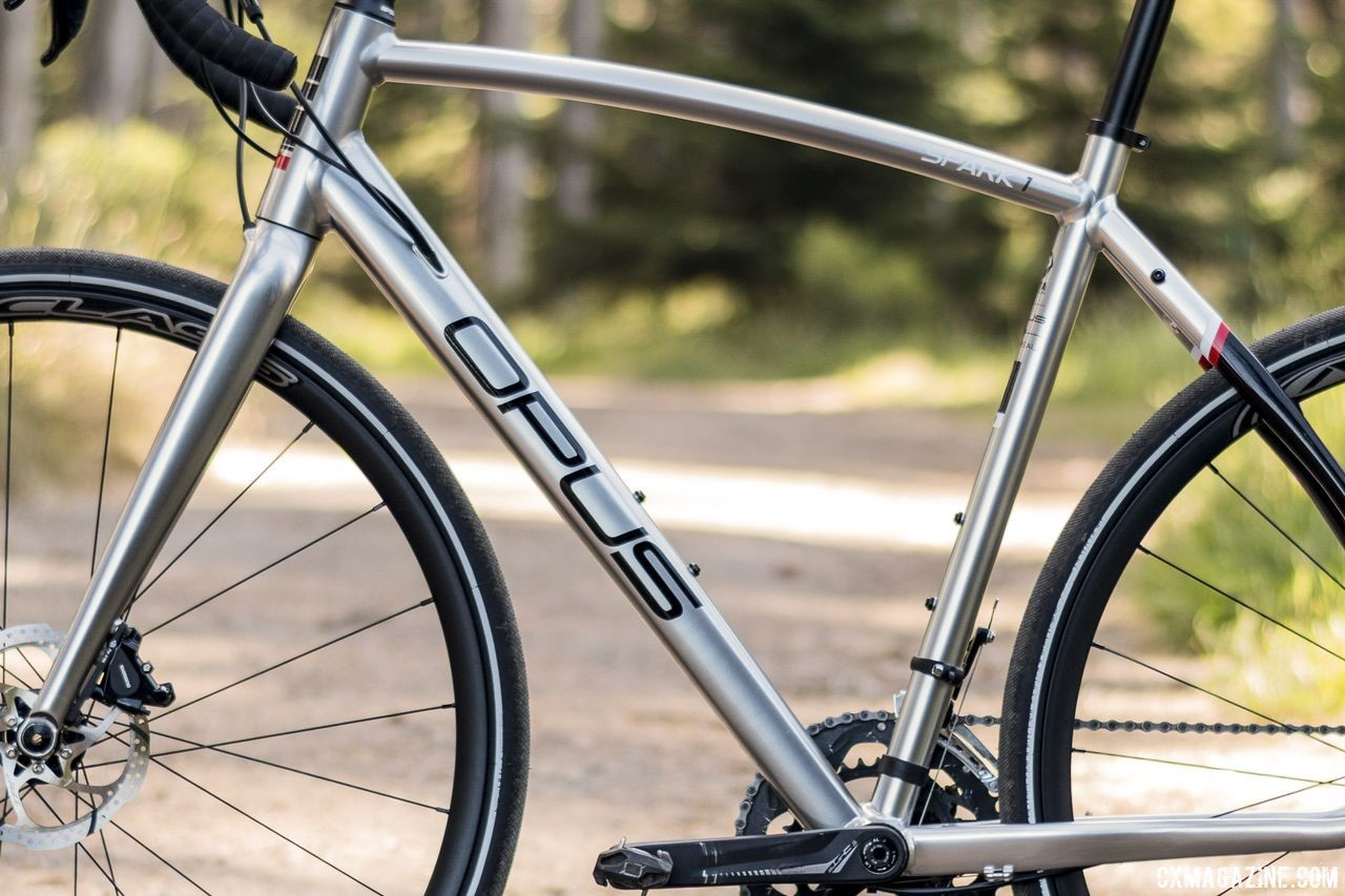 The alloy frame on our Spark 1 test bike had an annodized finish. Opus Spark 1 gravel bike. © C. Lee / Cyclocross Magazine