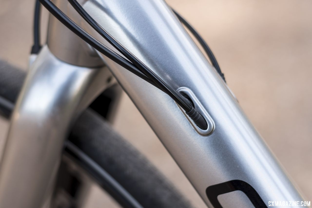 The alloy frame features internal cable routing. Opus Spark 1 gravel bike. © C. Lee / Cyclocross Magazine