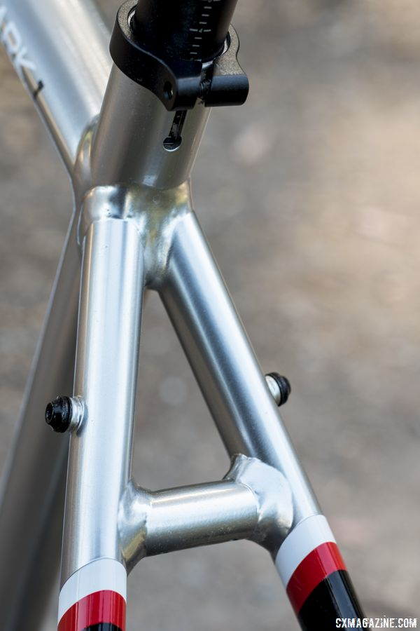 The seatstay bridge has two rack mounts on the outside of the frame. Opus Spark 1 gravel bike. © C. Lee / Cyclocross Magazine
