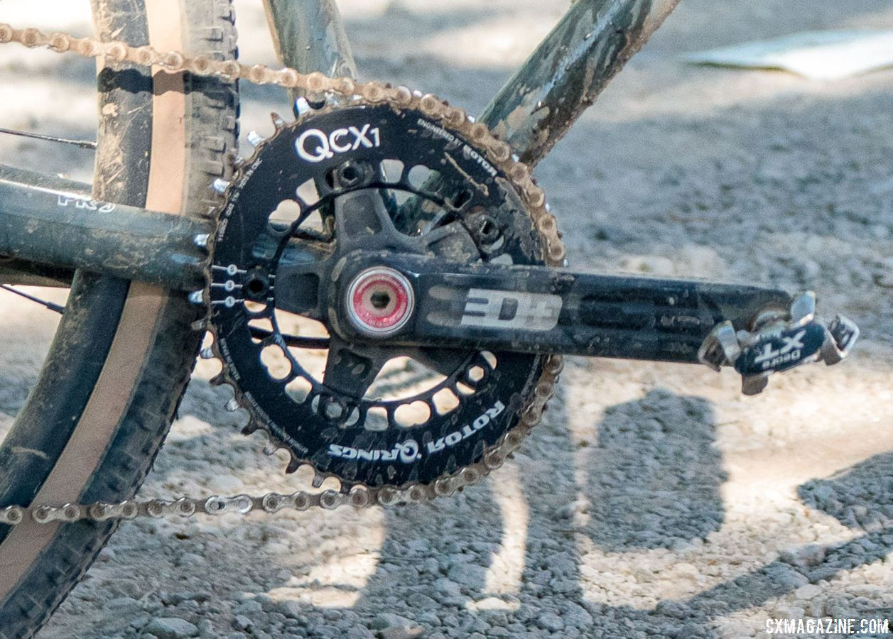 Nelson ran a 1x up front with Rotor's QCX1 chain ring and 3D crankset. Matt Nelson's Steel SaltAir Gravel Bike. 2018 Lost and Found. © C. Lee / Cyclocross Magazine