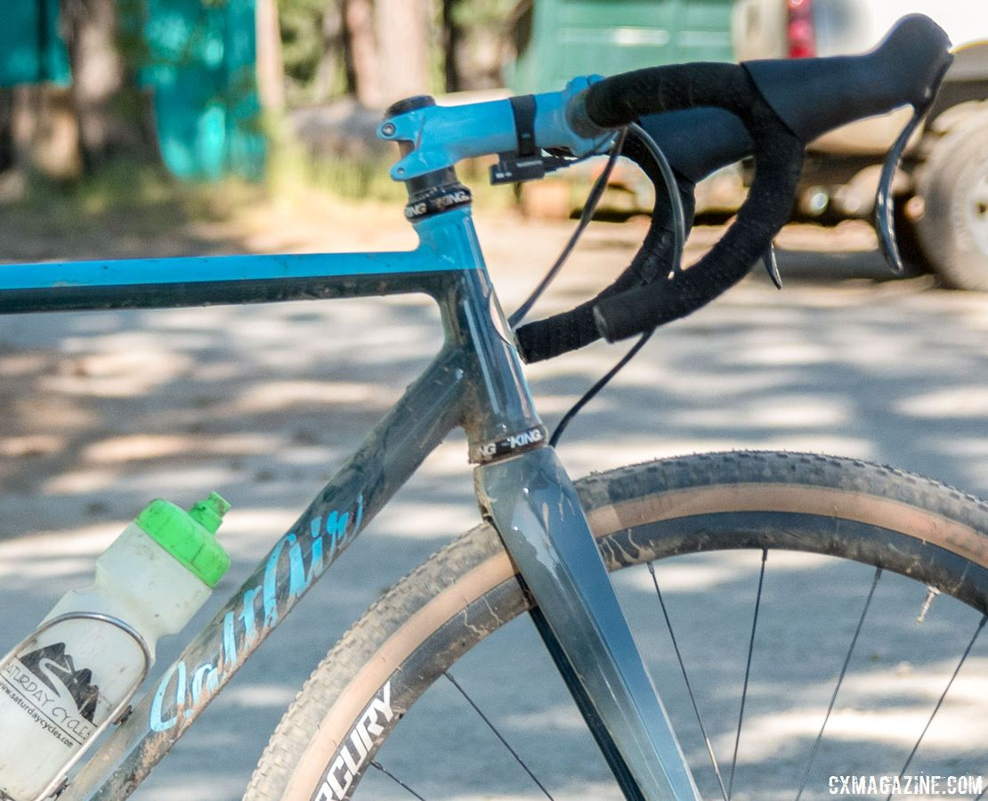 Up front, Nelson used a carbon fork and alloy wheels from Utah's Mercury Wheels. Matt Nelson's Steel SaltAir Gravel Bike. 2018 Lost and Found. © C. Lee / Cyclocross Magazine