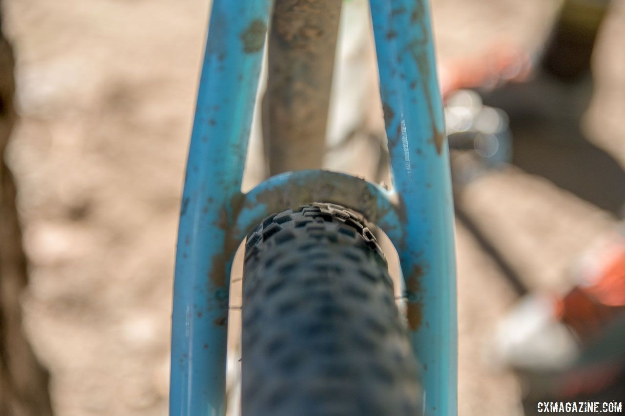The steel seat stays left just enough room for 42mm WTB Resolute tires. Matt Nelson's Steel SaltAir Gravel Bike. 2018 Lost and Found. © C. Lee / Cyclocross Magazine