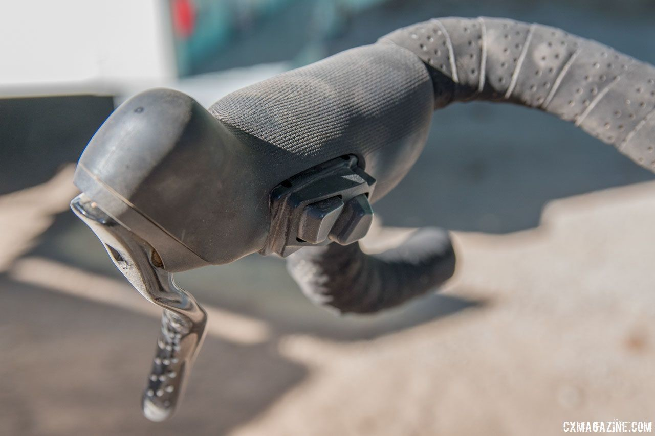 """Nelson used TRP Hylex RS brake levers with the Hylex Di2 Adapter Kit to run """"sprint"""" shifters. Matt Nelson's Steel SaltAir Gravel Bike. 2018 Lost and Found. © C. Lee / Cyclocross Magazine"""