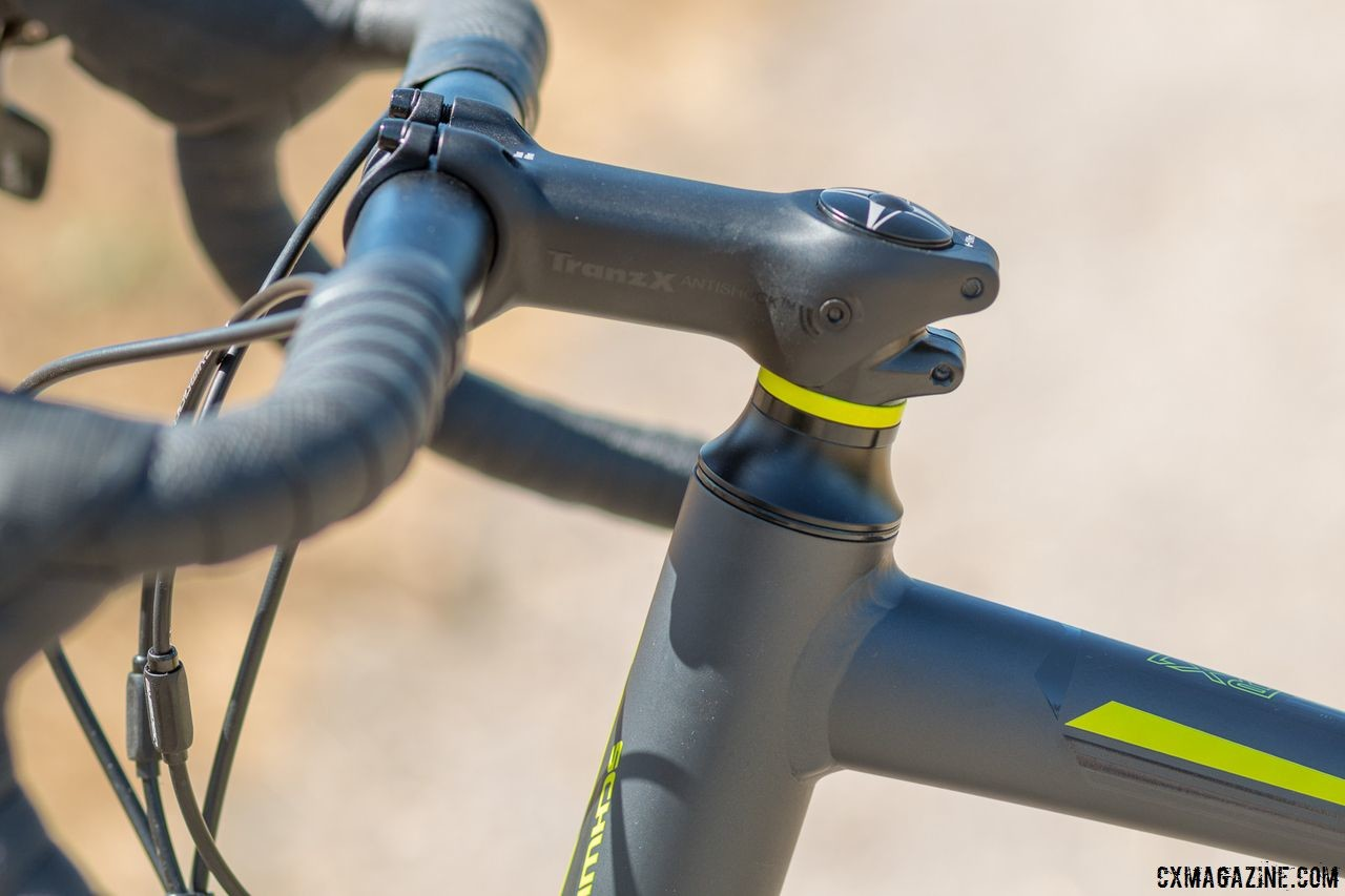 A vibration-absorbing TranX stem attempts to soften the ride up front, but it's barely noticeable compared to the rear SRT system and other stem options we've tested. Schwinn Vantage RX1 bike. © Cyclocross Magazine