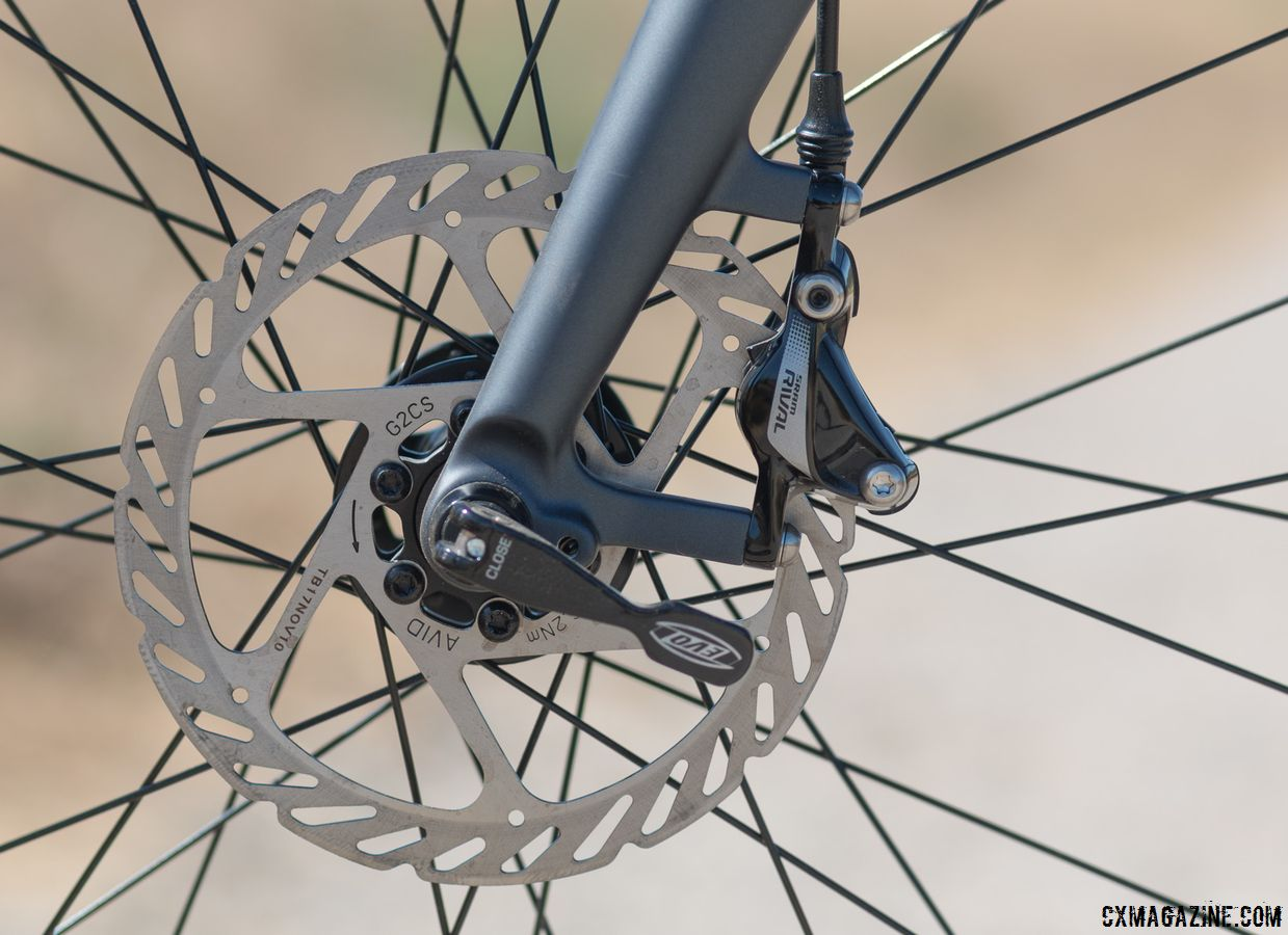 No flat mount, no problem. The post-mount SRAM Rival HydroR brakes still provide stopping power to slow down your adventure. Schwinn Vantage RX1 bike. © Cyclocross Magazine