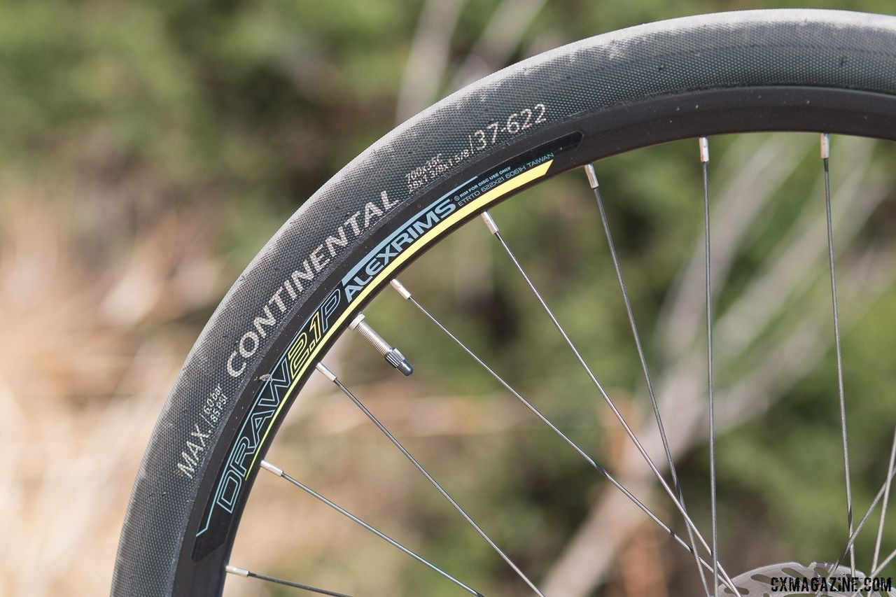The 37mm Continental tires offer low rolling resistance and puncture protection but don't provide amazing grip when conditions get loose. Schwinn Vantage RX1 bike. © Cyclocross Magazine