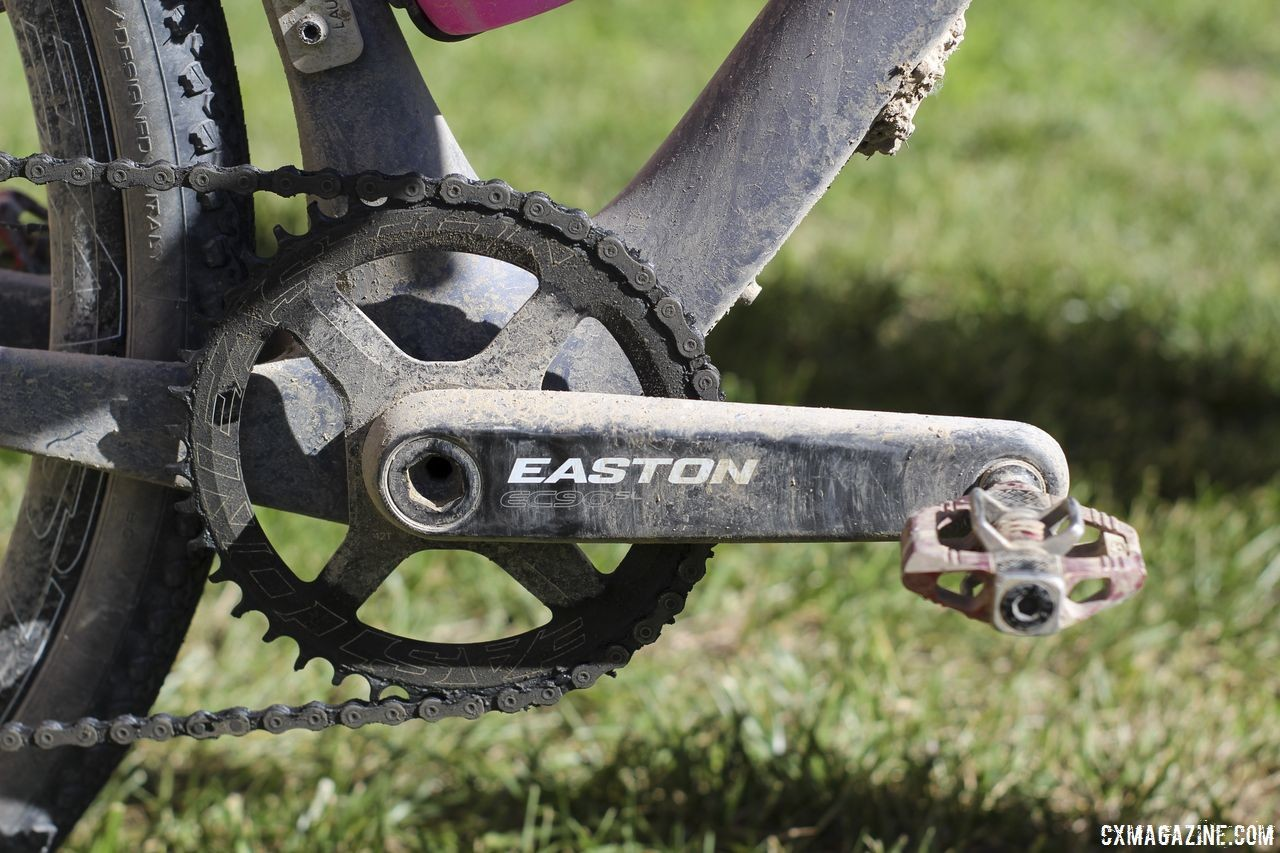 Van den Ham ran a Force 1 drivetrain with an Easton EC90SL crankset and 42t Easton Cinch chain ring. Michael van den Ham's 2018 DK200 Lauf True Grit. © Z. Schuster / Cyclocross Magazine