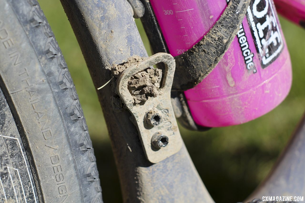 Lauf's 1x setups replace the front derailleur with a bottle opener. Michael van den Ham's 2018 DK200 Lauf True Grit. © Z. Schuster / Cyclocross Magazine