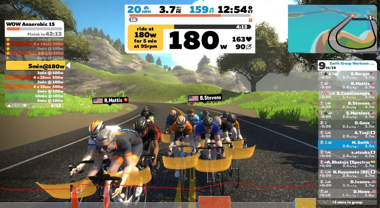 During group workouts, everyone does the same workout together. photo: Zwift