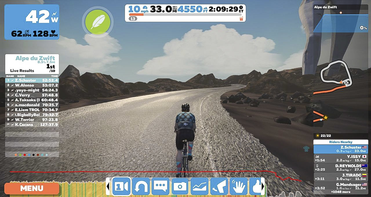 Zwift shows segment leaderboards and gives out jerseys to the leading active rider. Zwift review.