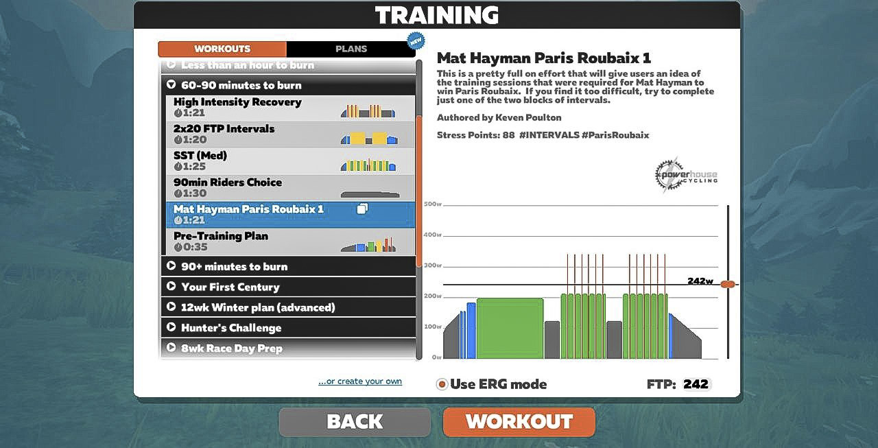 Zwift has a number of built-in workouts that can you do in Erg mode or by trying to match the prescribed power. Zwift review.
