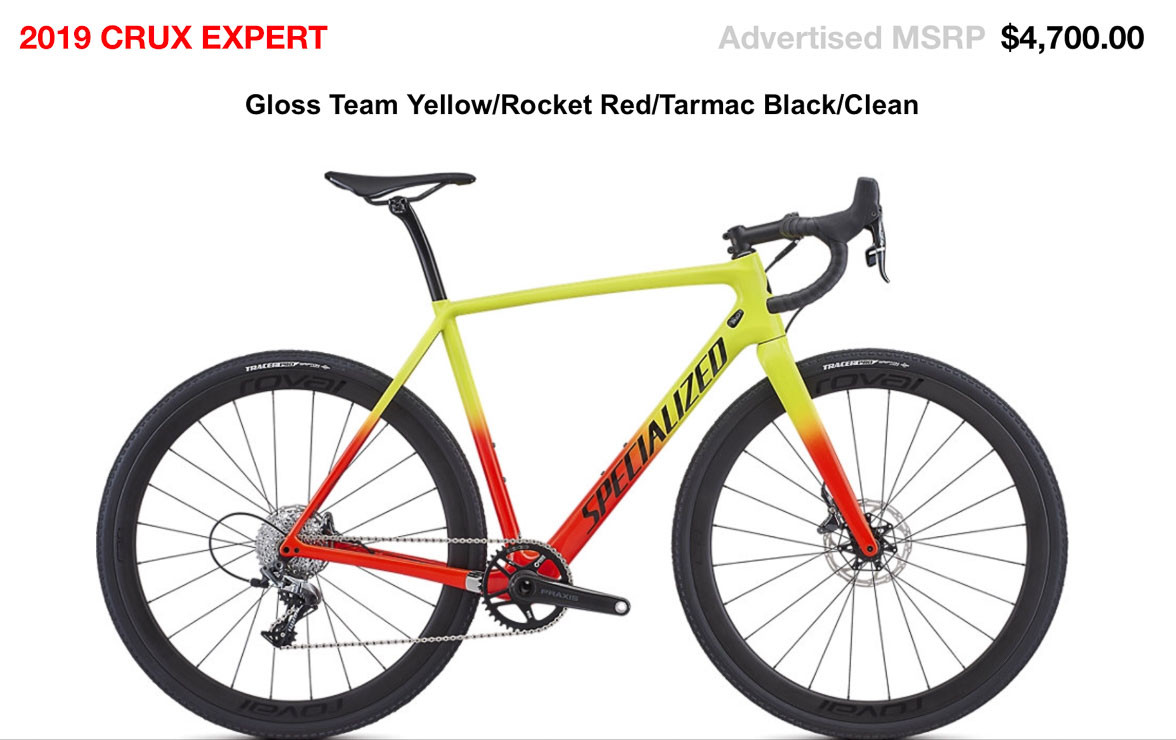 The $4700 2019 Specialized CruX Expert carbon cyclocross bike with SRAM Force 1.