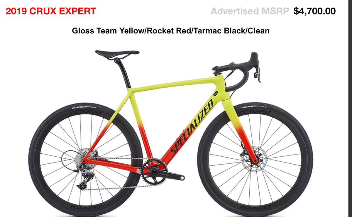 fd20d064892 The  4700 2019 Specialized CruX Expert carbon cyclocross bike with SRAM  Force 1.